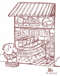 QooBee Themed Donut and Bubble Tea Store Design