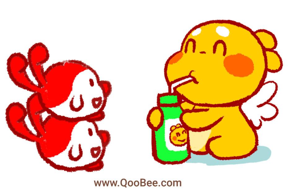 QooBee Agapi Enjoying Cold Drink