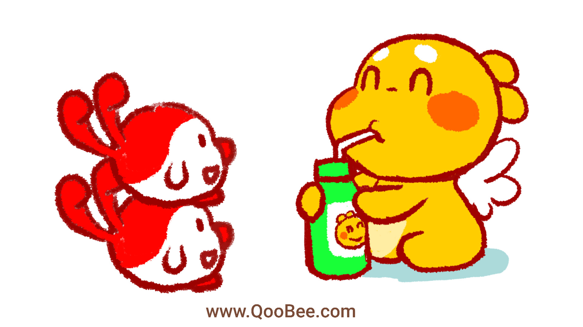 Qoobee is Enjoying a Super Cold Drink